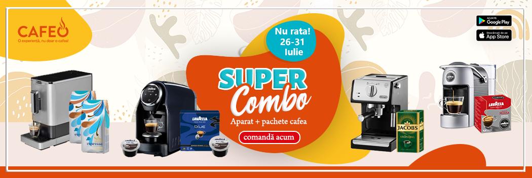 Super Combo - Pachete Espressor + Cafea de calitate 26-31 Iulie 2021