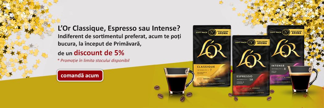 Cafea macinata L'or discount 5%-Promo Martie 2018