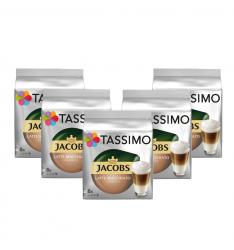 Set 5 x Cutii Capsule cafea, Jacobs Tassimo Latte Machiato, 8 bauturi x 295 ml, 8 capsule specialitate cafea + 8 capsule lapte