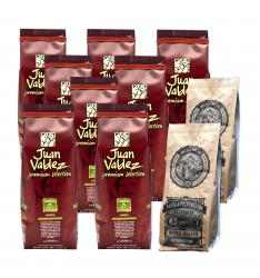 Pachet:8 Juan Valdez-Cumbre Fuerte cafea boabe 500g+2 pachetePanela ECO -Extract trestie de zahar 500 g