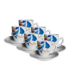 Set cesti+farfurii Morra Espresso ceramica -80 ml