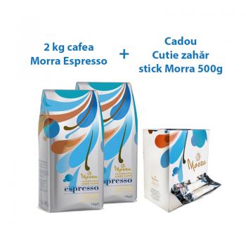PACHET 2 x Morra Espresso cafea boabe 1kg + CADOU 1 Zahar alb Morra 5g - 100 plicuri