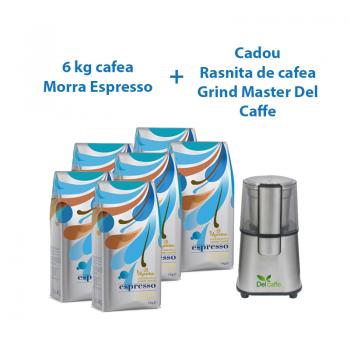 PACHET 6 x Morra Espresso cafea boabe 1 kg+ CADOU Rasnita de cafea Grind Master Del Caffe