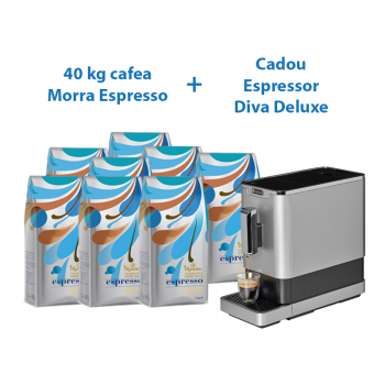 PACHET 40 x Morra Espresso cafea boabe 1 kg+ CADOU 1 Espressor automat cu rasnita incorporata DIVA DE LUXE