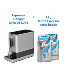 PACHET PROMO - Espressor automat cu rasnita incorporata DIVA DE LUXE +2 Morra Espresso cafea boabe 1kg