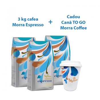 PACHET x 3 Morra Espresso cafea boabe 1kg + CADOU Cana ceramica de cafea Morra TO GO, 330 ml+capac silicon alb