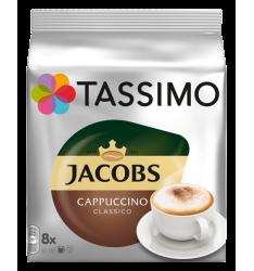 Capsule cafea Jacobs Tassimo Cappuccino, 8 bauturi x 190 ml, 8 capsule cafea + 8 capsule lapte