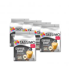 Pachet 5 x Cutii Capsule cafea Tassimo Coffee Shop Flat White, 16 capsule, 8 bauturi, 220g
